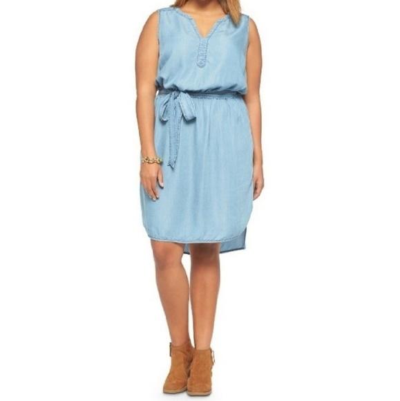Ava Viv Dresses Ava Viv Plus Size Chambray Belted Dress Poshmark